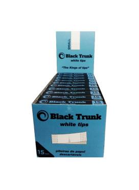 Caixa de Piteira de Papel Black Trunk White Tips 15mm