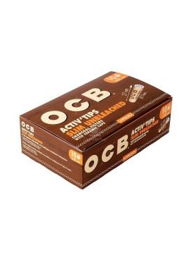 Activ Tips OCB, Slim Unbleached - Carvão ativado