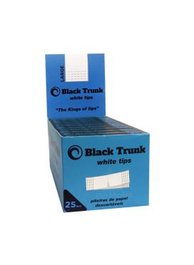 Caixa de Piteira de Papel Black Trunk White Tips 25mm