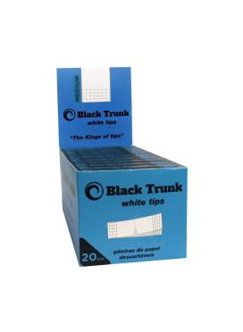 Caixa de Piteira de Papel Black Trunk White Tips 20mm